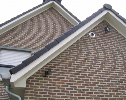 oversteek in Rockpanel + zinken hanggoot